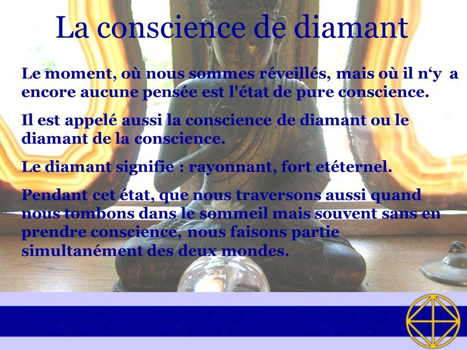 La conscience de diamant Le moment, où nous sommes réveillés, mais où il ny a encore aucune pensée est l'état de pure conscience. Il est appelé aussi