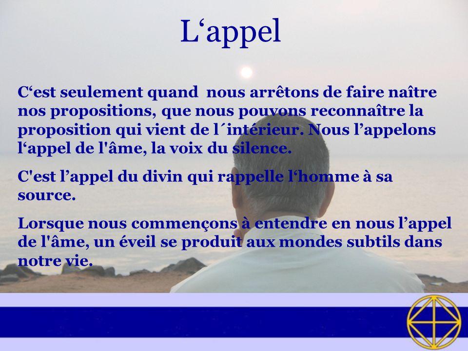 Lappel Cest seulement quand nous arrêtons de faire naître nos propositions, que nous pouvons reconnaître la proposition qui vient de l´intérieur.