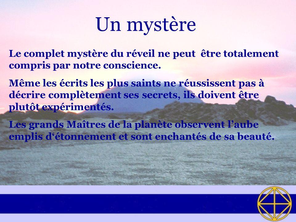 Un mystère Le complet mystère du réveil ne peut être totalement compris par notre conscience.