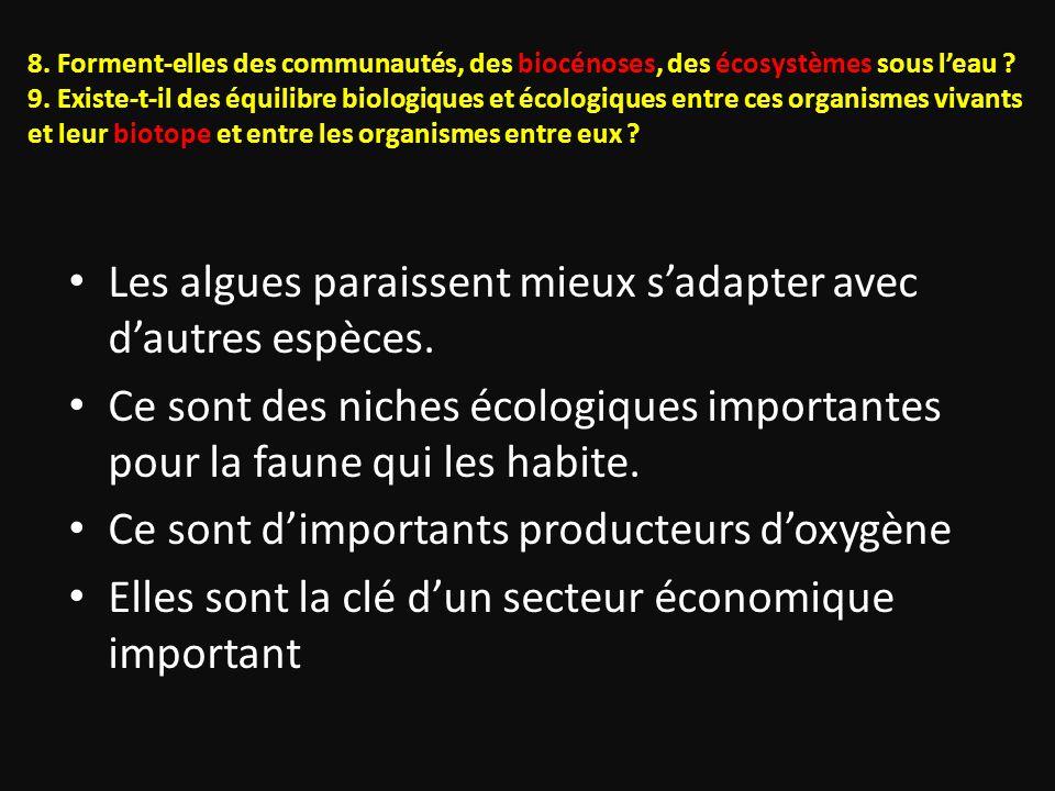8.Forment-elles des communautés, des biocénoses, des écosystèmes sous leau .