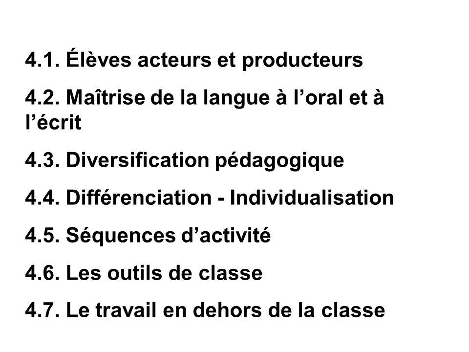 4.1. Élèves acteurs et producteurs 4.2. Maîtrise de la langue à loral et à lécrit 4.3. Diversification pédagogique 4.4. Différenciation - Individualis