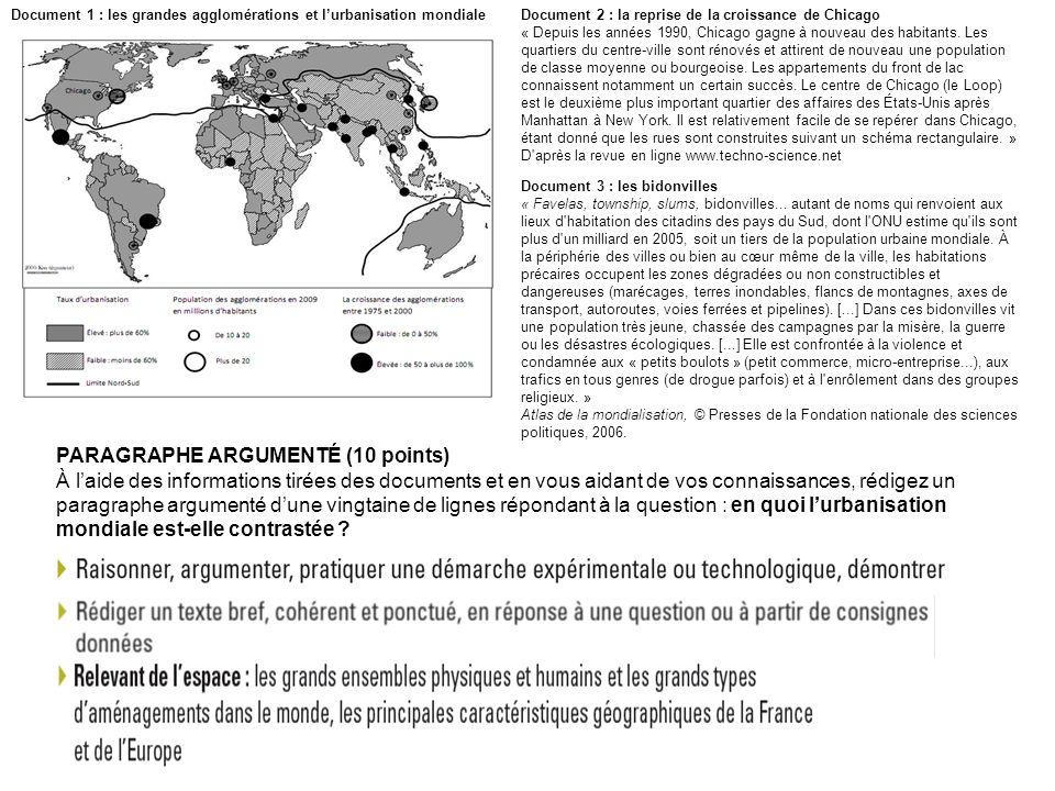 PARAGRAPHE ARGUMENTÉ (10 points) À laide des informations tirées des documents et en vous aidant de vos connaissances, rédigez un paragraphe argumenté