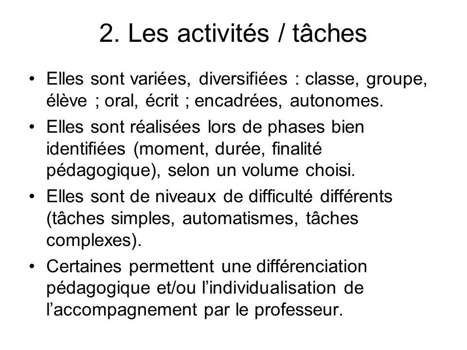 2. Les activités / tâches Elles sont variées, diversifiées : classe, groupe, élève ; oral, écrit ; encadrées, autonomes. Elles sont réalisées lors de