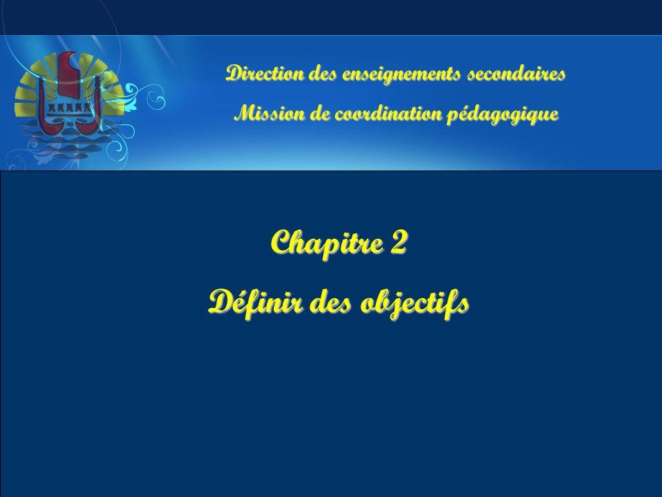 Direction des enseignements secondaires Mission de coordination pédagogique Chapitre 2 Définir des objectifs