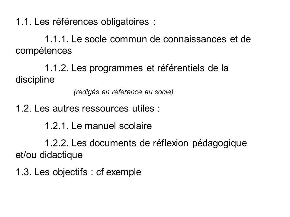 1.1. Les références obligatoires : 1.1.1. Le socle commun de connaissances et de compétences 1.1.2. Les programmes et référentiels de la discipline (r