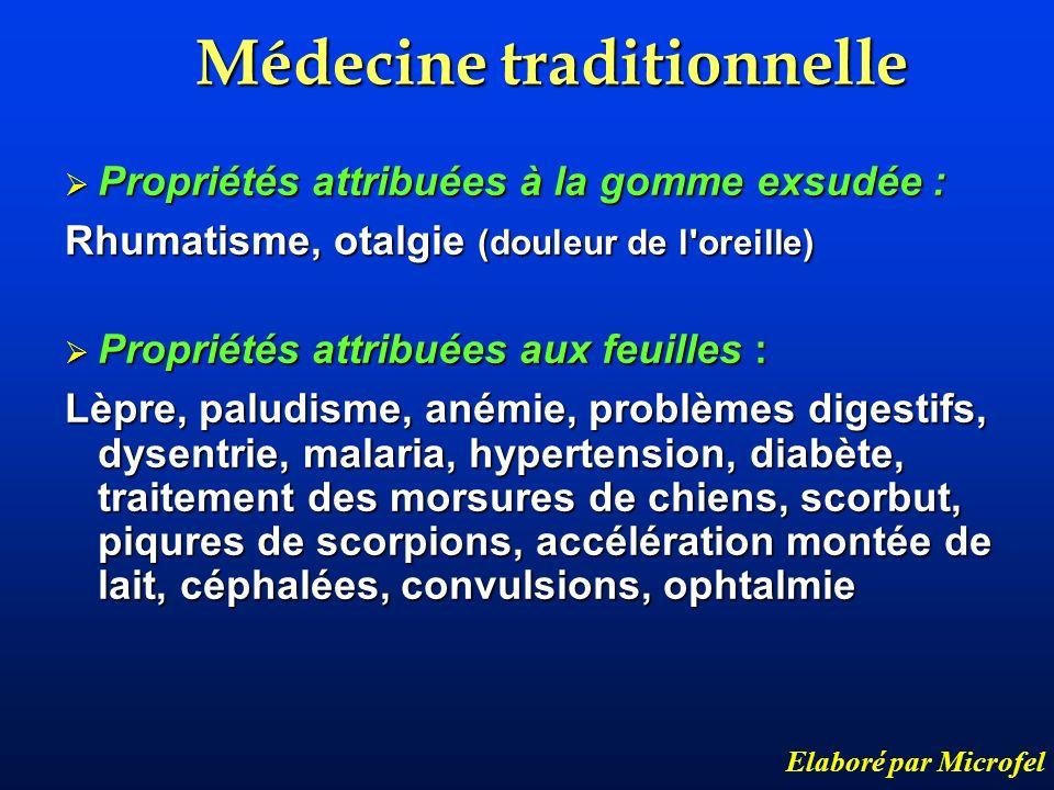 Médecine traditionnelle Elaboré par Microfel Propriétés attribuées à la gomme exsudée : Propriétés attribuées à la gomme exsudée : Rhumatisme, otalgie