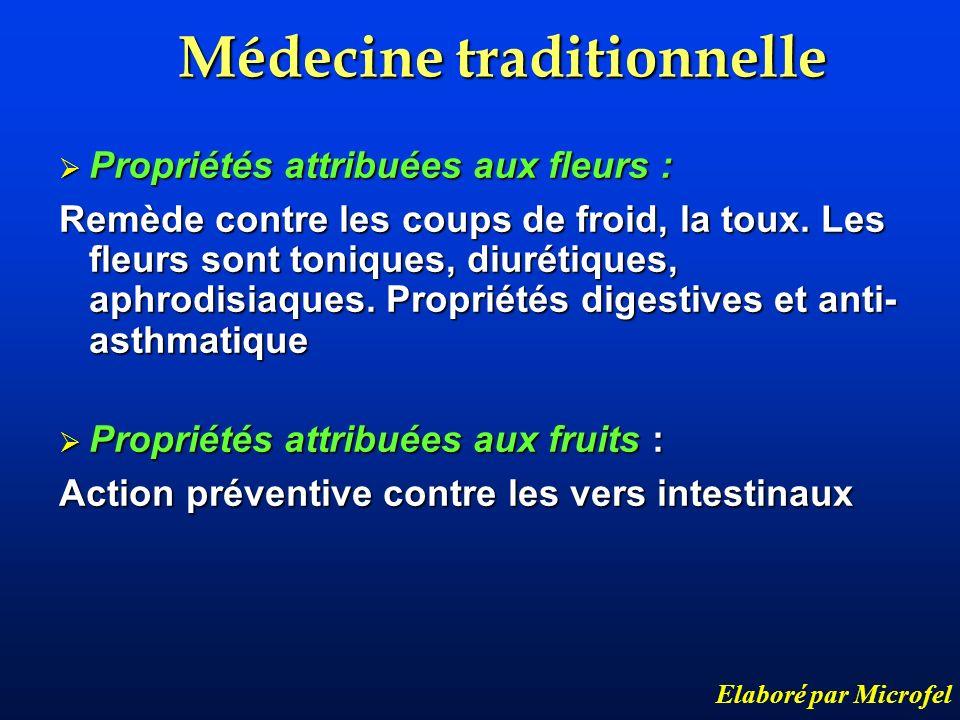 Médecine traditionnelle Elaboré par Microfel Propriétés attribuées aux fleurs : Propriétés attribuées aux fleurs : Remède contre les coups de froid, l