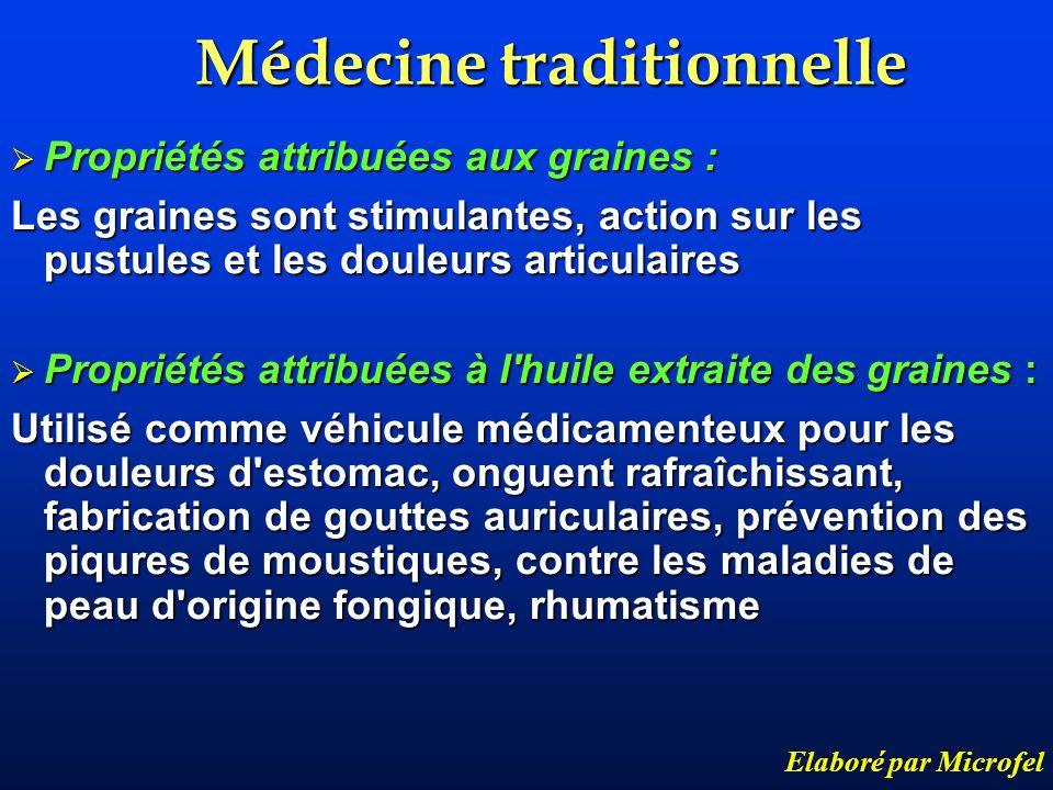 Médecine traditionnelle Elaboré par Microfel Propriétés attribuées aux graines : Propriétés attribuées aux graines : Les graines sont stimulantes, act