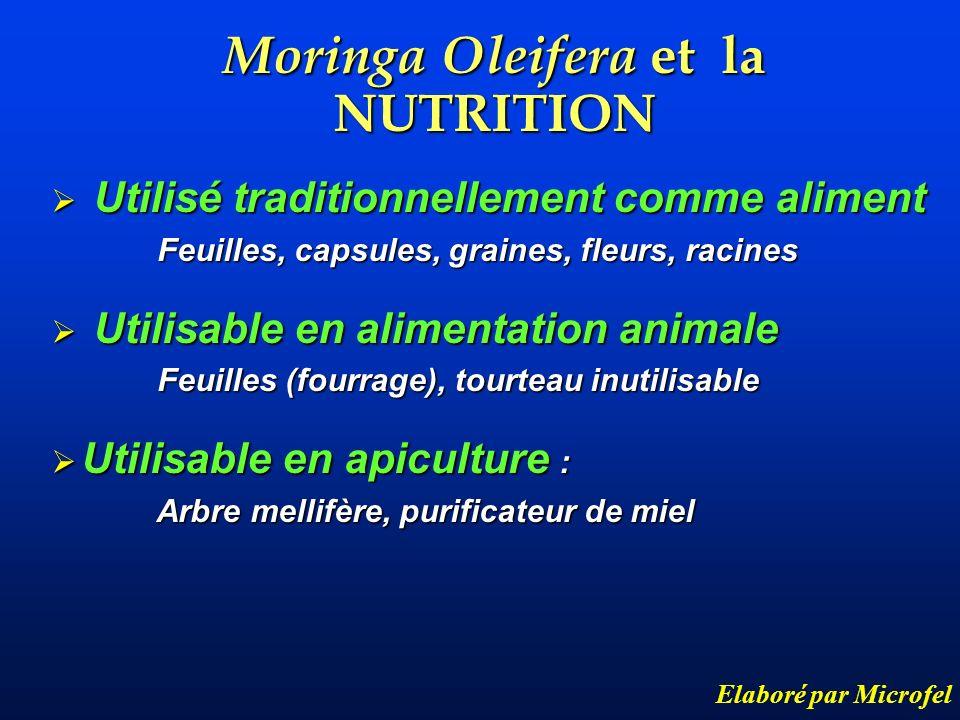 Moringa Oleifera et la NUTRITION Elaboré par Microfel Utilisé traditionnellement comme aliment Utilisé traditionnellement comme aliment Feuilles, caps