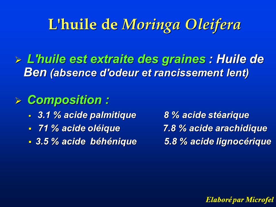 L'huile de Moringa Oleifera Elaboré par Microfel L'huile est extraite des graines : Huile de Ben (absence d'odeur et rancissement lent) L'huile est ex
