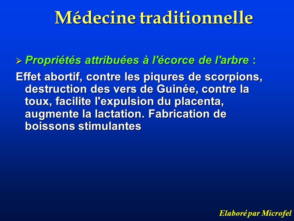 Médecine traditionnelle Elaboré par Microfel Propriétés attribuées à l'écorce de l'arbre : Propriétés attribuées à l'écorce de l'arbre : Effet abortif
