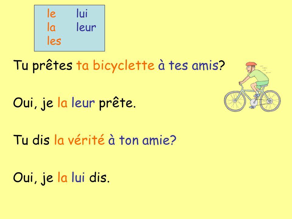 lelui la leur les Tu prêtes ta bicyclette à tes amis.
