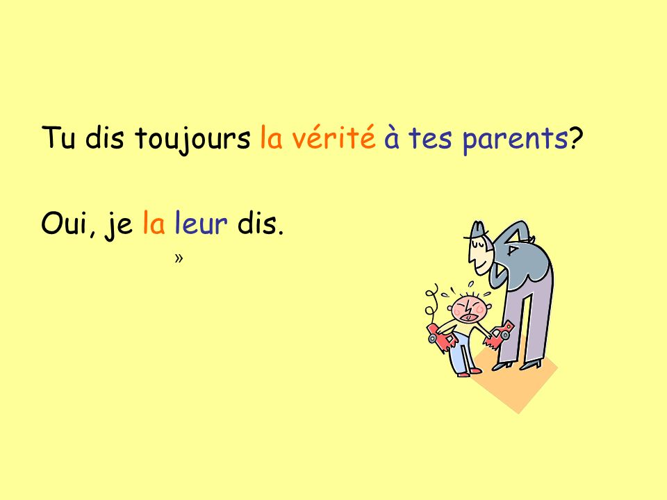 Tu dis toujours la vérité à tes parents? Oui, je la leur dis. »