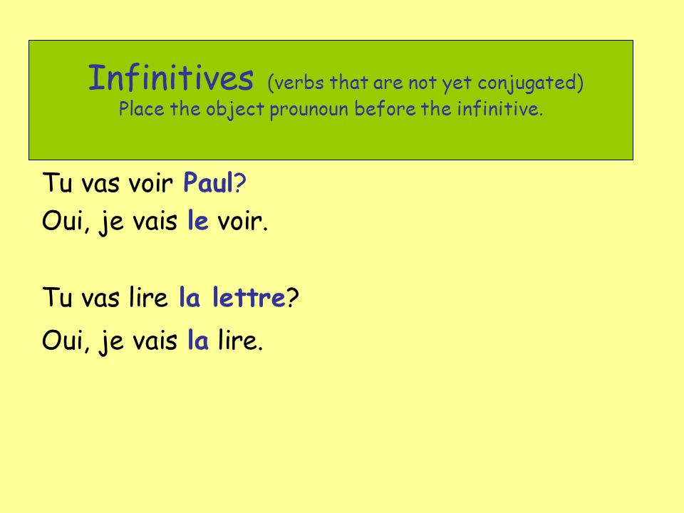 Infinitives (verbs that are not yet conjugated) Place the object prounoun before the infinitive.