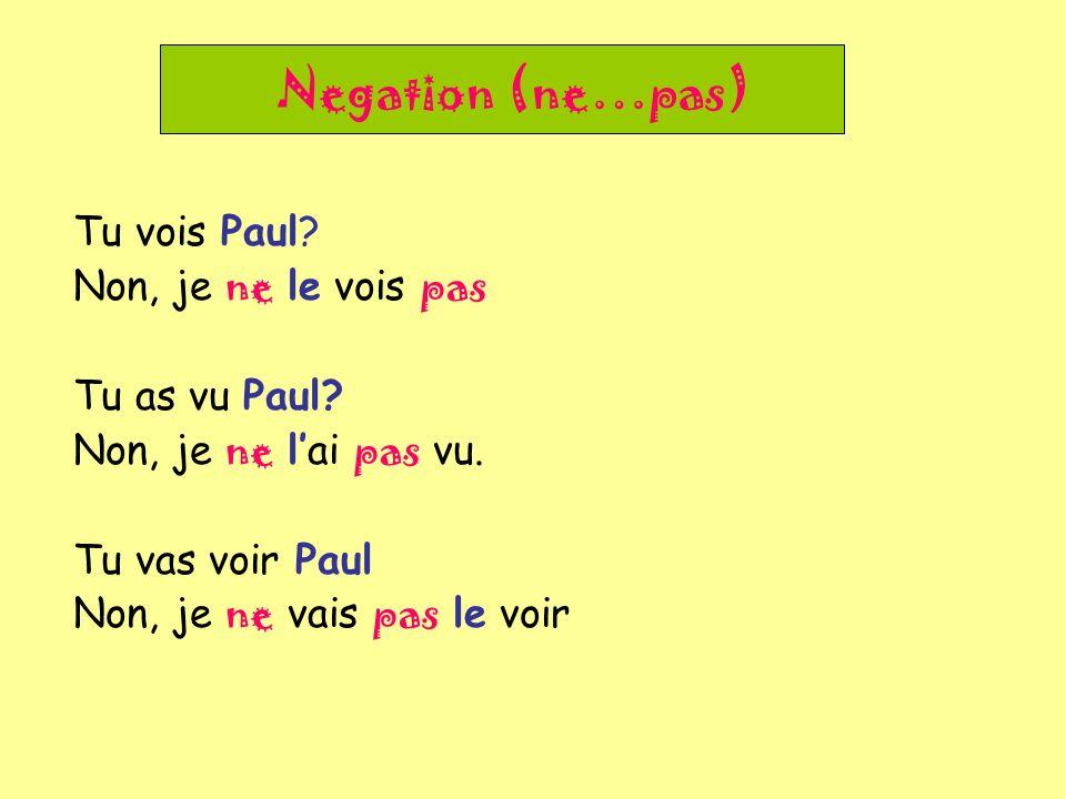 Negation (ne…pas) Tu vois Paul.Non, je ne le vois pas Tu as vu Paul.