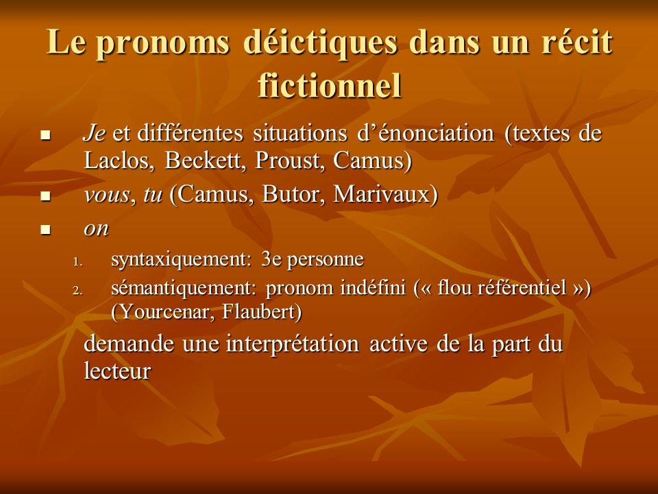 Le pronoms déictiques dans un récit fictionnel Je et différentes situations dénonciation (textes de Laclos, Beckett, Proust, Camus) Je et différentes