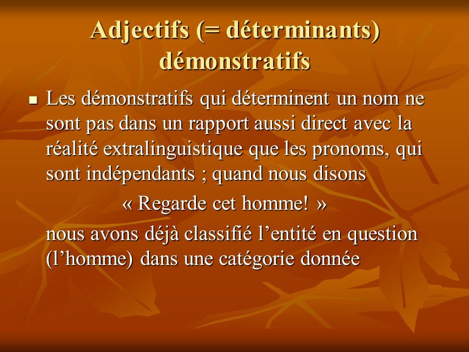 Adjectifs (= déterminants) démonstratifs Les démonstratifs qui déterminent un nom ne sont pas dans un rapport aussi direct avec la réalité extralingui