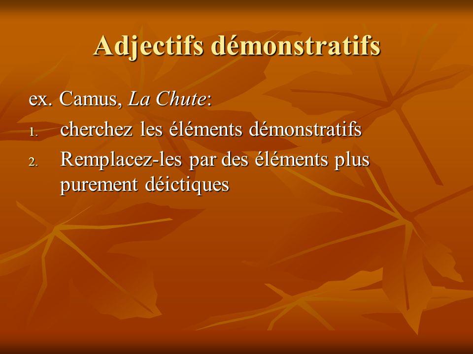 Adjectifs démonstratifs ex. Camus, La Chute: 1. cherchez les éléments démonstratifs 2. Remplacez-les par des éléments plus purement déictiques