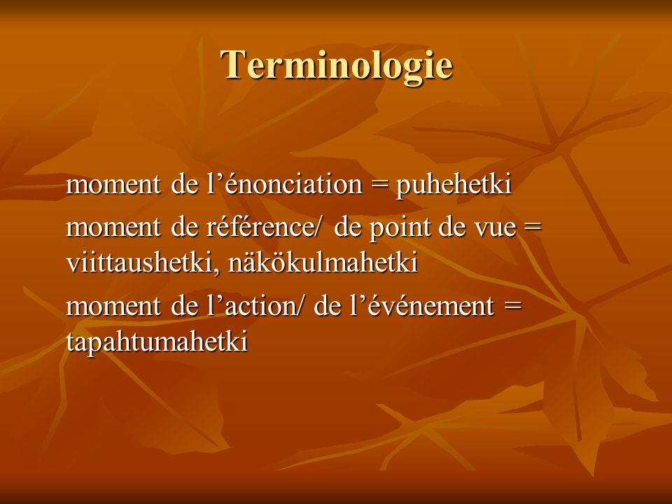 Terminologie moment de lénonciation = puhehetki moment de référence/ de point de vue = viittaushetki, näkökulmahetki moment de laction/ de lévénement