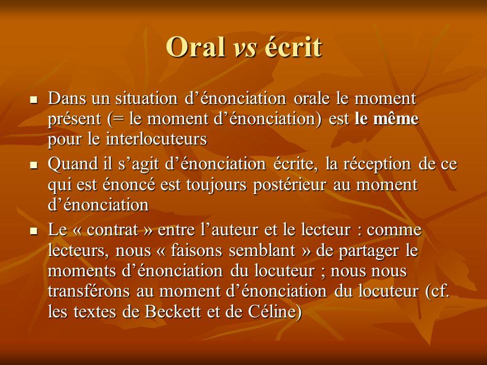 Oral vs écrit Dans un situation dénonciation orale le moment présent (= le moment dénonciation) est le même pour le interlocuteurs Dans un situation d