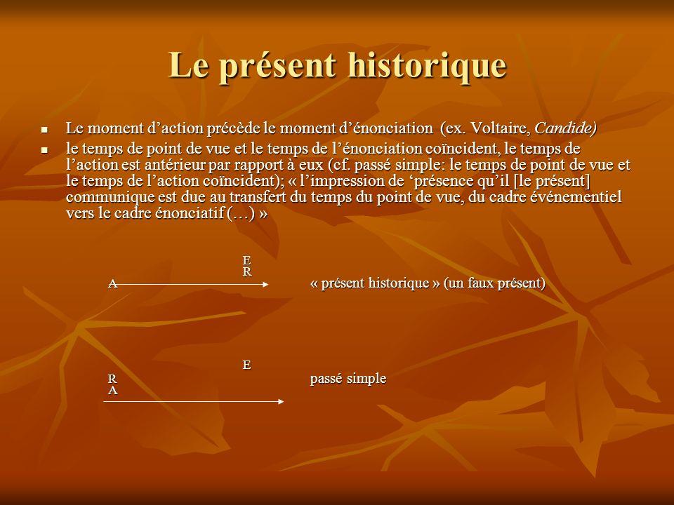Le présent historique Le moment daction précède le moment dénonciation (ex. Voltaire, Candide) Le moment daction précède le moment dénonciation (ex. V