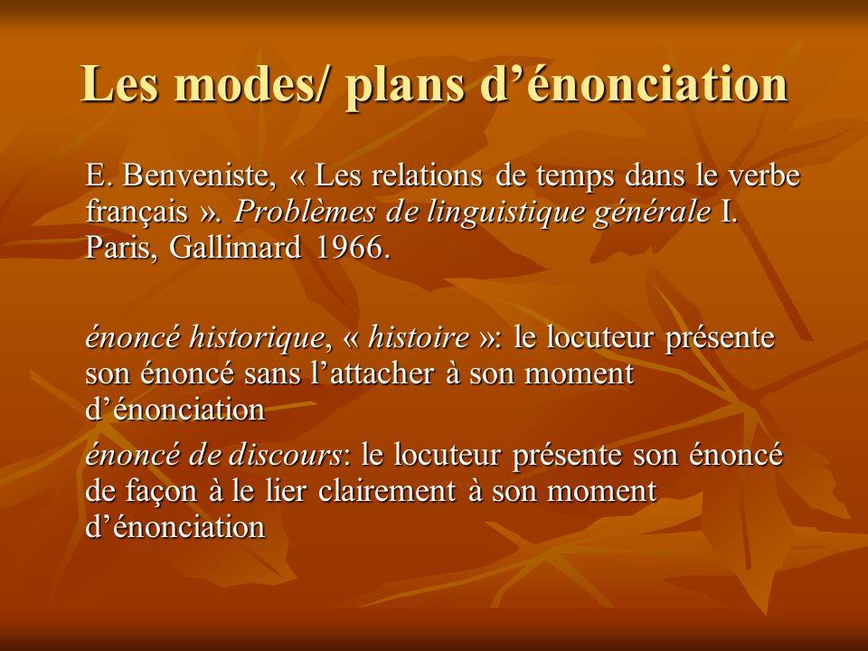 Les modes/ plans dénonciation E. Benveniste, « Les relations de temps dans le verbe français ». Problèmes de linguistique générale I. Paris, Gallimard