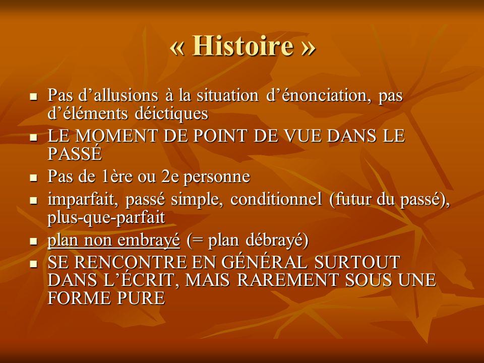 « Histoire » Pas dallusions à la situation dénonciation, pas déléments déictiques Pas dallusions à la situation dénonciation, pas déléments déictiques