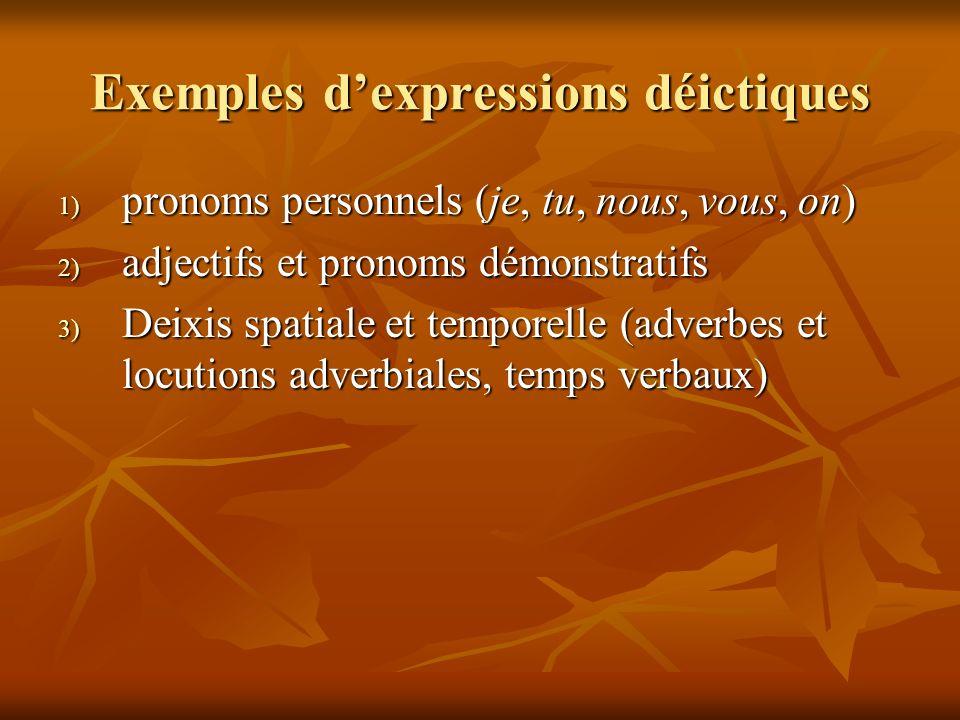 Exemples dexpressions déictiques 1) pronoms personnels (je, tu, nous, vous, on) 2) adjectifs et pronoms démonstratifs 3) Deixis spatiale et temporelle