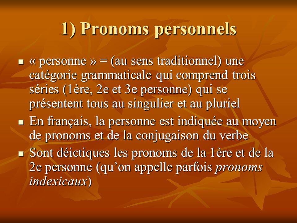 1) Pronoms personnels « personne » = (au sens traditionnel) une catégorie grammaticale qui comprend trois séries (1ère, 2e et 3e personne) qui se prés