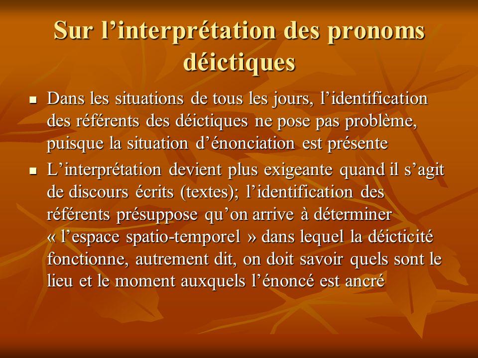 Sur linterprétation des pronoms déictiques Dans les situations de tous les jours, lidentification des référents des déictiques ne pose pas problème, p