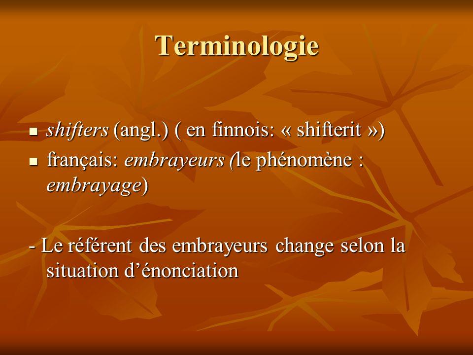 Terminologie shifters (angl.) ( en finnois: « shifterit ») shifters (angl.) ( en finnois: « shifterit ») français: embrayeurs (le phénomène : embrayag