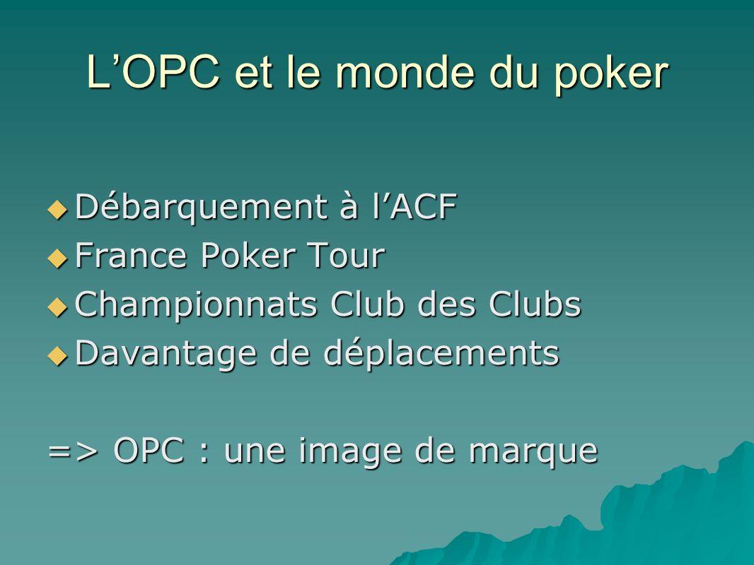LOPC et le monde du poker Débarquement à lACF Débarquement à lACF France Poker Tour France Poker Tour Championnats Club des Clubs Championnats Club des Clubs Davantage de déplacements Davantage de déplacements => OPC : une image de marque