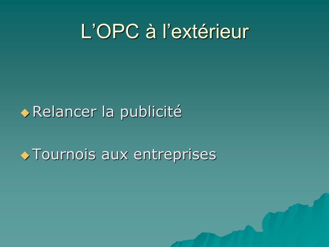 LOPC à lextérieur Relancer la publicité Relancer la publicité Tournois aux entreprises Tournois aux entreprises