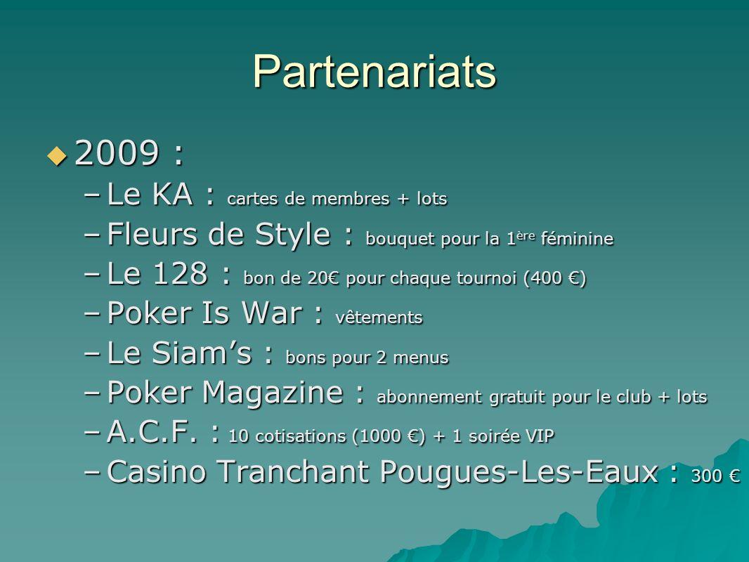 Partenariats 2010 : 2010 : –Le KA –Fleurs de Style –Le 128 –Poker Magazine –Les Balnéades : bons en échange de manifestations –La Boite à Pizza (Fb.