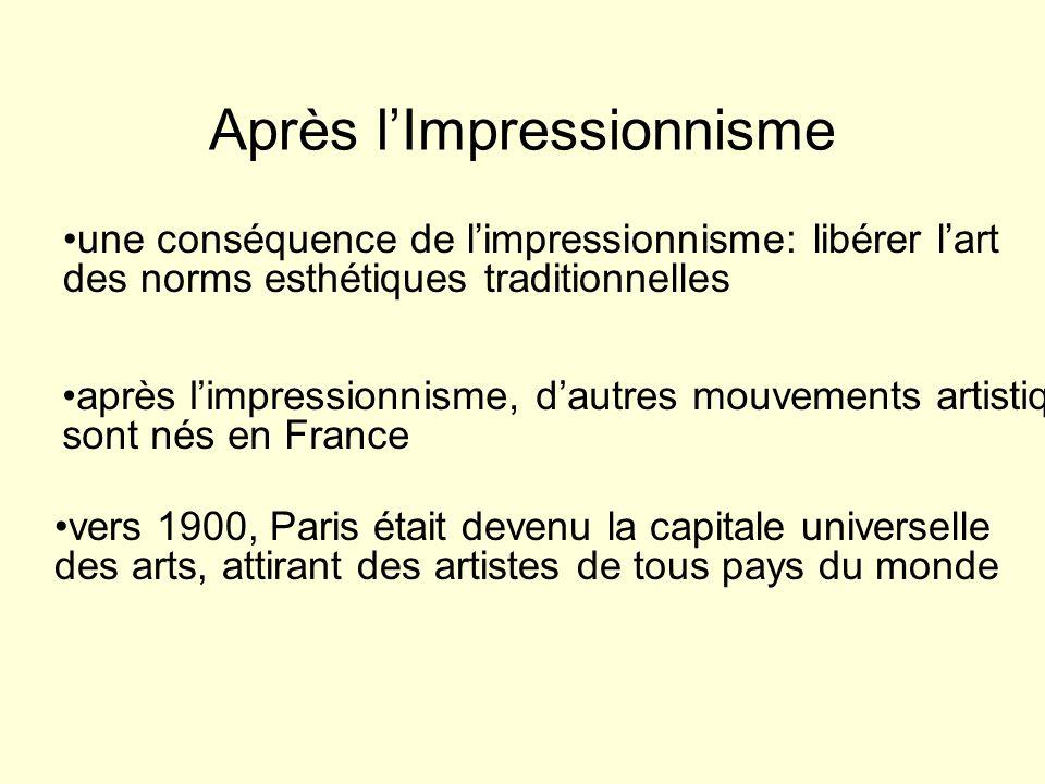 Après lImpressionnisme une conséquence de limpressionnisme: libérer lart des norms esthétiques traditionnelles après limpressionnisme, dautres mouveme