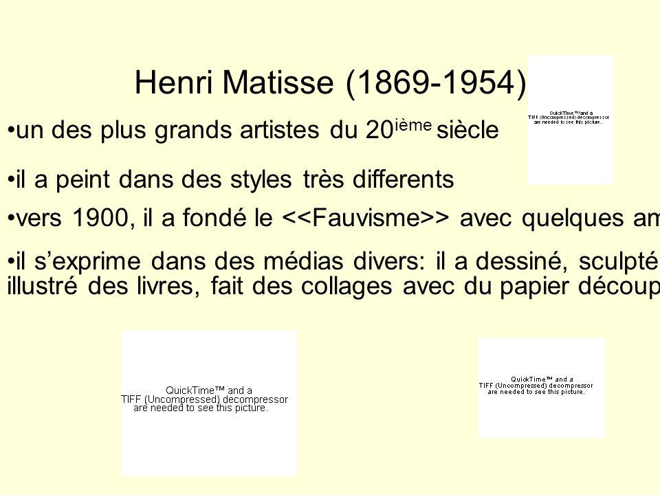 Henri Matisse (1869-1954) un des plus grands artistes du 20 ième siècle il a peint dans des styles très differents vers 1900, il a fondé le > avec que