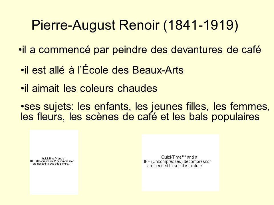 Berthe Morisot (1841-1895) elle a commencé à copier les tableaux du Louvre elle fait la connaissance de Manet, et elle rejoint le groupe des peintres impressionnistes elle aimait utiliser les coleurs claires ses sujets: les fleurs, les paysages, les scènes de la vie champêtre, et les portraits de jeunes filles