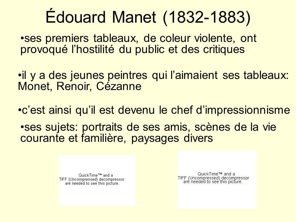 Claude Monet (1840-1926) il était faciné par les effets de la lumière il a inventé une technique qui consistait à peindre par petites taches de coleur il aimait peindre et repeindre les mêmes scènes sous des lumières differéntes ses sujets: surtout des paysages, mais aussi des scènes urbaines très célèbres: la cathédrale de Rouen, la Gare Saint Lazare à Paris, la Tamise à Londres