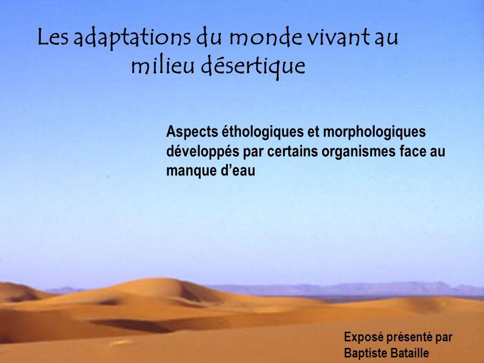 Les adaptations du monde vivant au milieu désertique Aspects éthologiques et morphologiques développés par certains organismes face au manque deau Exp