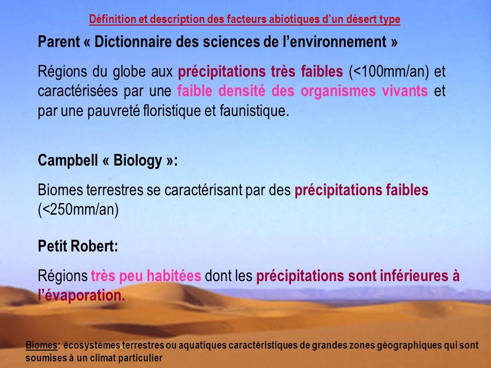 Définition et description des facteurs abiotiques dun désert type Parent « Dictionnaire des sciences de lenvironnement » Régions du globe aux précipit