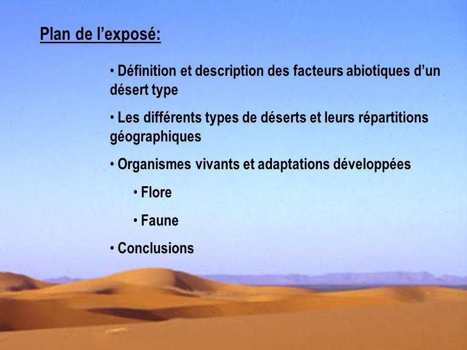 Plan de lexposé: Définition et description des facteurs abiotiques dun désert type Les différents types de déserts et leurs répartitions géographiques Organismes vivants et adaptations développées Flore Faune Conclusions