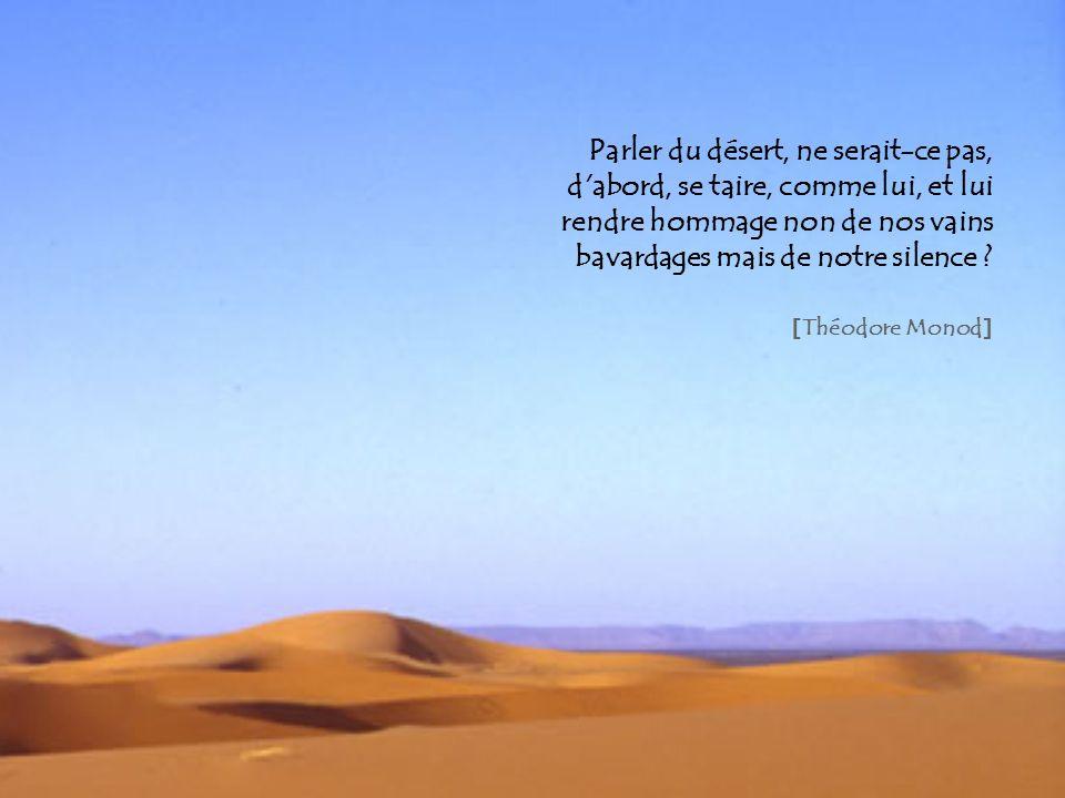 Parler du désert, ne serait-ce pas, d'abord, se taire, comme lui, et lui rendre hommage non de nos vains bavardages mais de notre silence ? [ Théodore