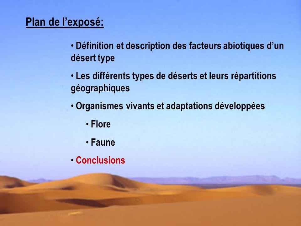 Conclusions Désert: milieu sans vie par définition..