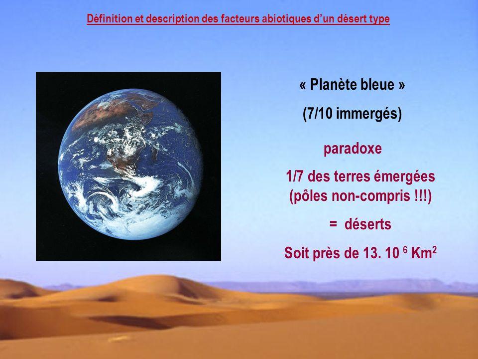 Définition et description des facteurs abiotiques dun désert type « Planète bleue » (7/10 immergés) paradoxe 1/7 des terres émergées (pôles non-compri