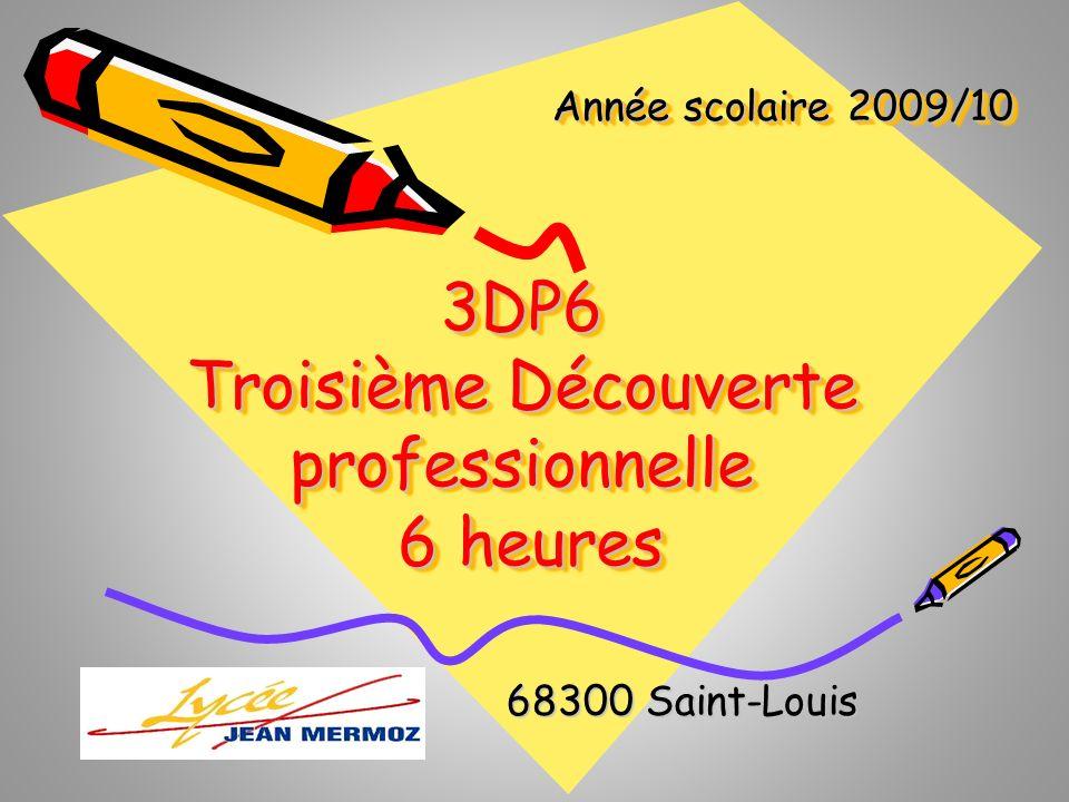 Année scolaire 2009/10 68300 Saint-Louis 68300 Saint-Louis 3DP6 Troisième Découverte professionnelle 6 heures 6 heures3DP6 Troisième Découverte profes