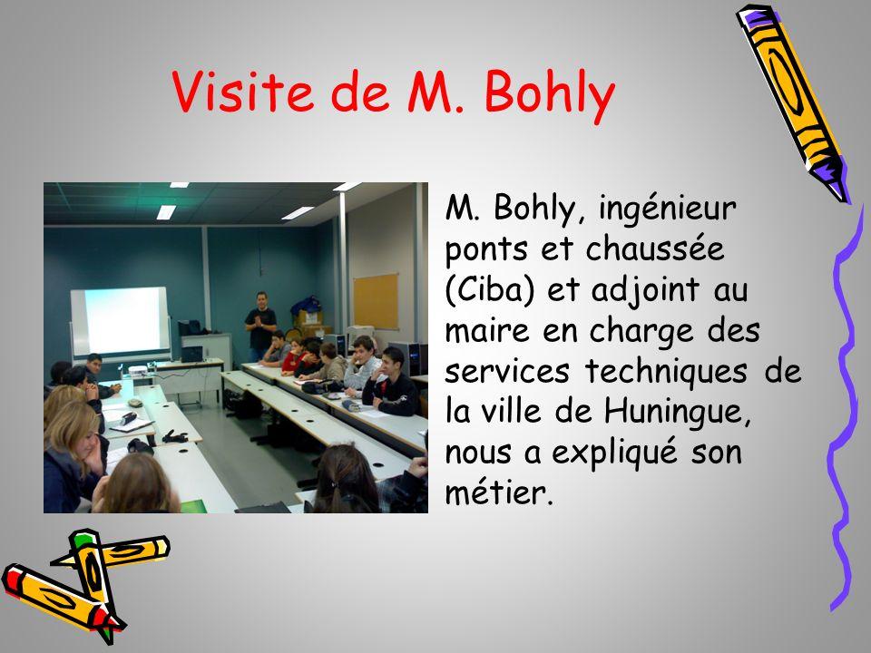 Visite de M. Bohly M. Bohly, ingénieur ponts et chaussée (Ciba) et adjoint au maire en charge des services techniques de la ville de Huningue, nous a