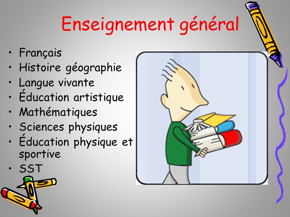 Enseignement général Français Histoire géographie Langue vivante Éducation artistique Mathématiques Sciences physiques Éducation physique et sportive