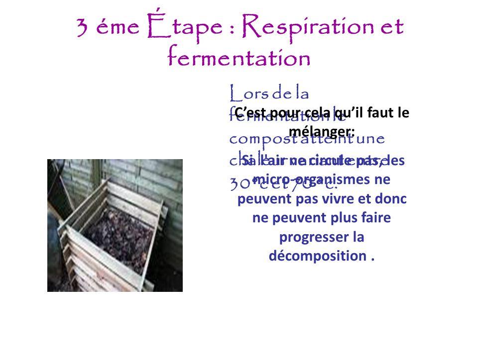 3 éme Étape : Respiration et fermentation Lors de la fermentation le compost atteint une chaleur variant entre 30°c et 70 °c. Cest pour cela quil faut