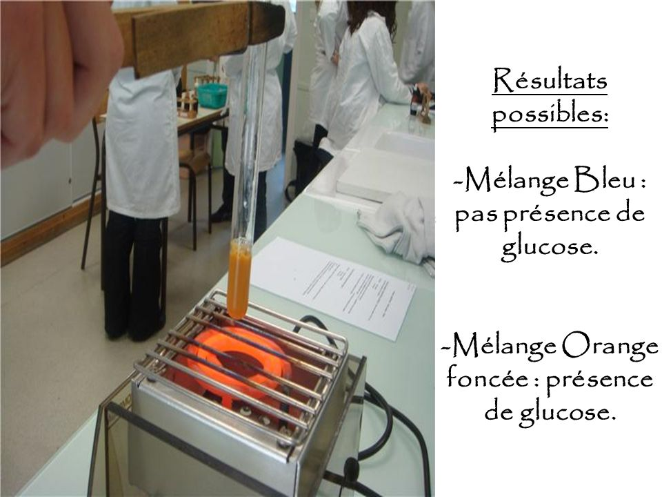 Résultats possibles: -Mélange Bleu : pas présence de glucose. -Mélange Orange foncée : présence de glucose.ClémentinePressée Jus + Eau distillée + Liq