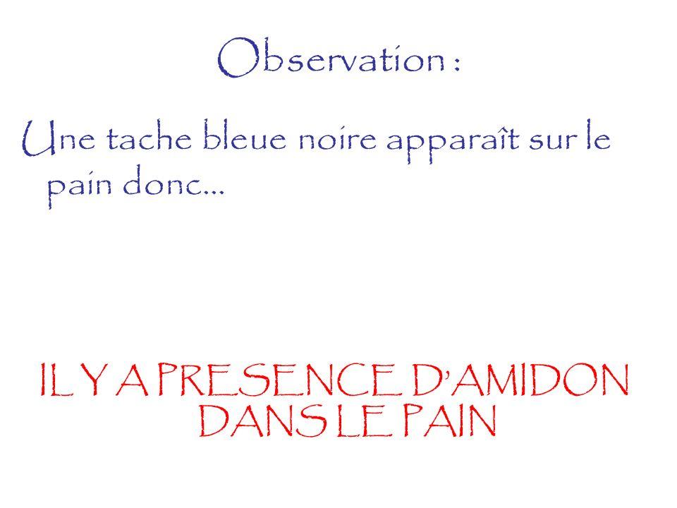 Observation : Une tache bleue noire apparaît sur le pain donc... IL Y A PRESENCE DAMIDON DANS LE PAIN